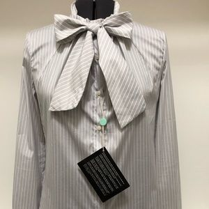 RED Valentino Classic Tailored Striped Bow Shirt
